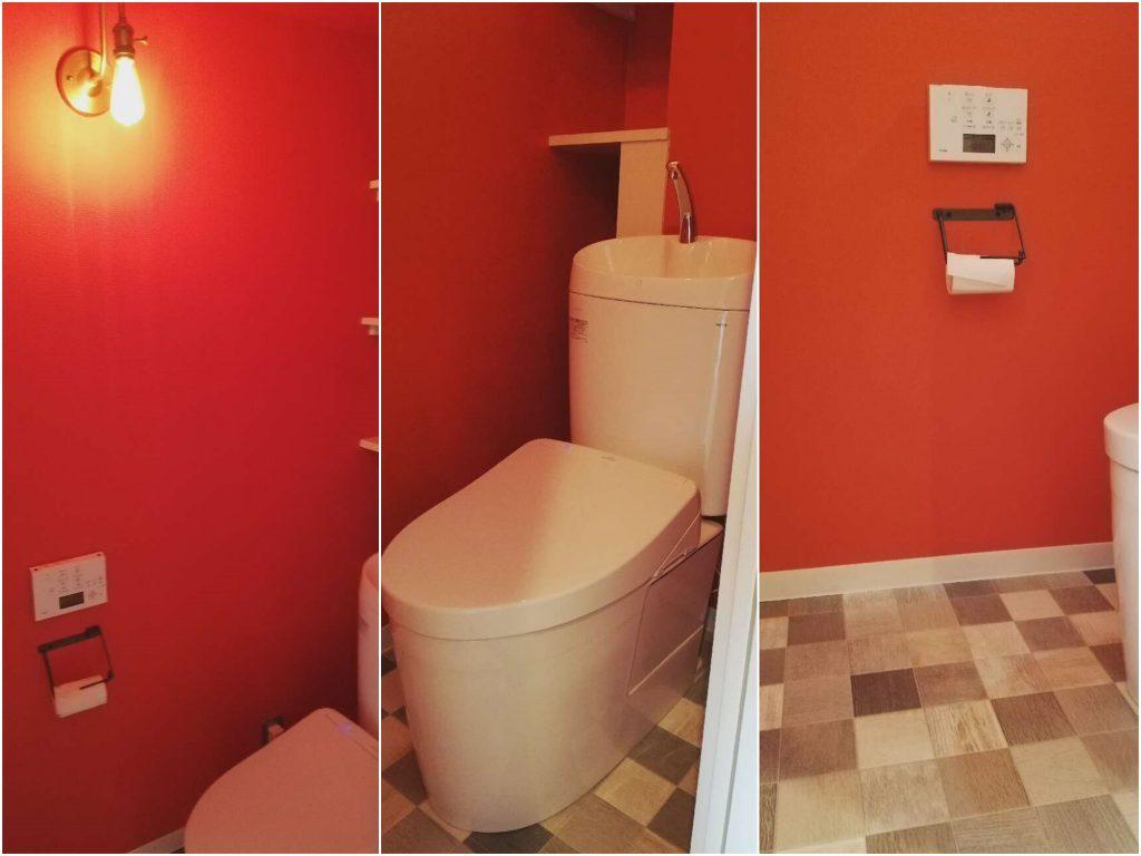 渋い赤色の壁でオシャレなトイレ空間に大変身!