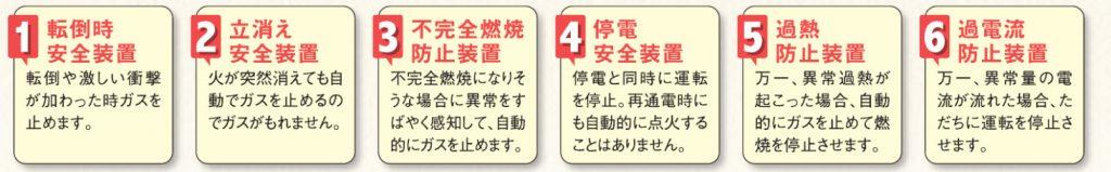 ガスファンヒーター 6つの安全機能