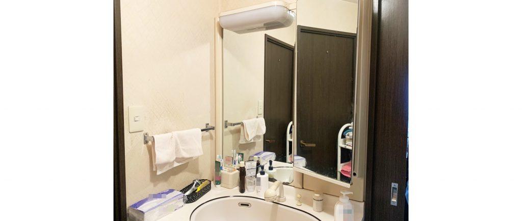 洗面台のお取替えと一緒に浴室の鏡・ドアもお取替え♪